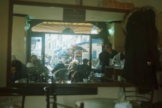 cafe, mirror, street.